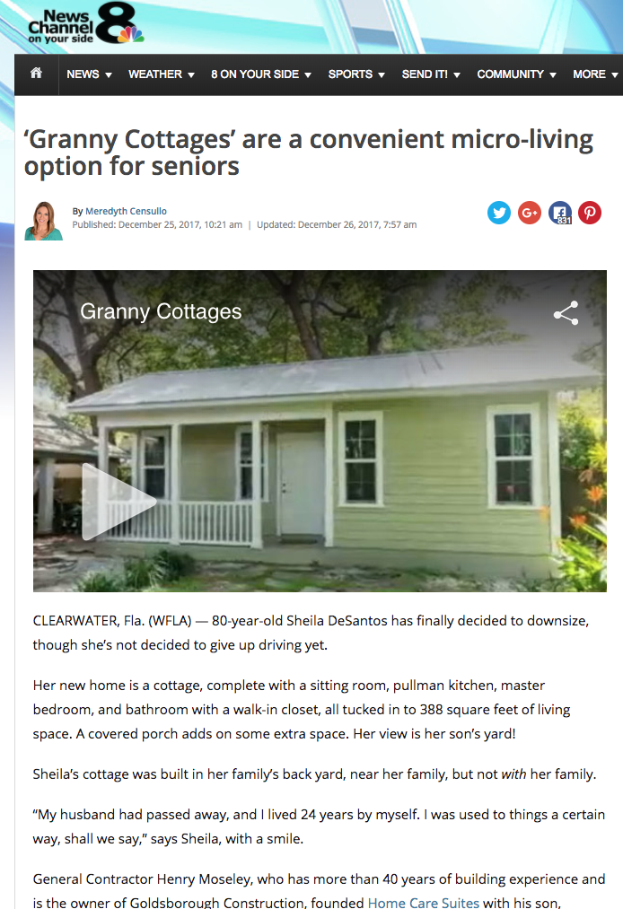 Granny Cottages on WFLA NBC Tampa Home Care Suites